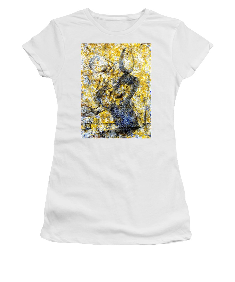Inga Vereshchagina Women's T-Shirt (Athletic Fit) featuring the painting Infusion by Inga Vereshchagina