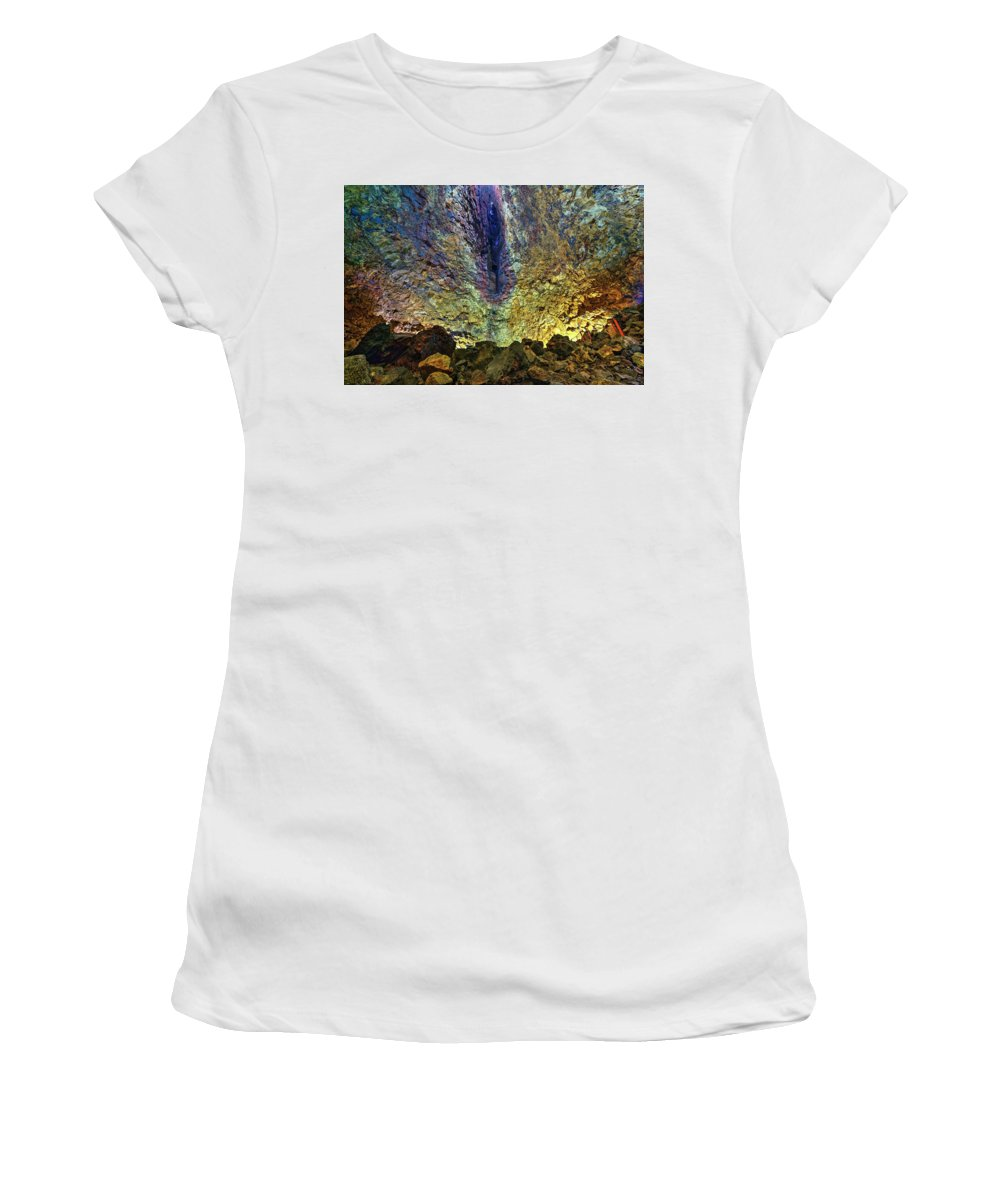 Inside The Volcano Women's T-Shirt (Athletic Fit) featuring the photograph Inside The Volcano Thrihnukagigur - Iceland by Joana Kruse