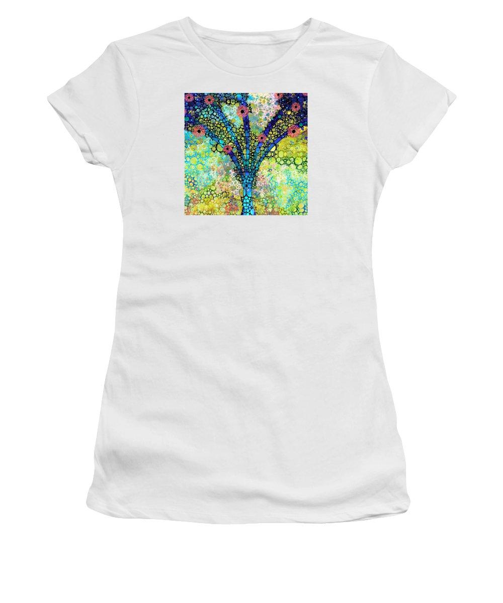 Tree Women's T-Shirt featuring the painting Inspirational Art - Absolute Joy - Sharon Cummings by Sharon Cummings