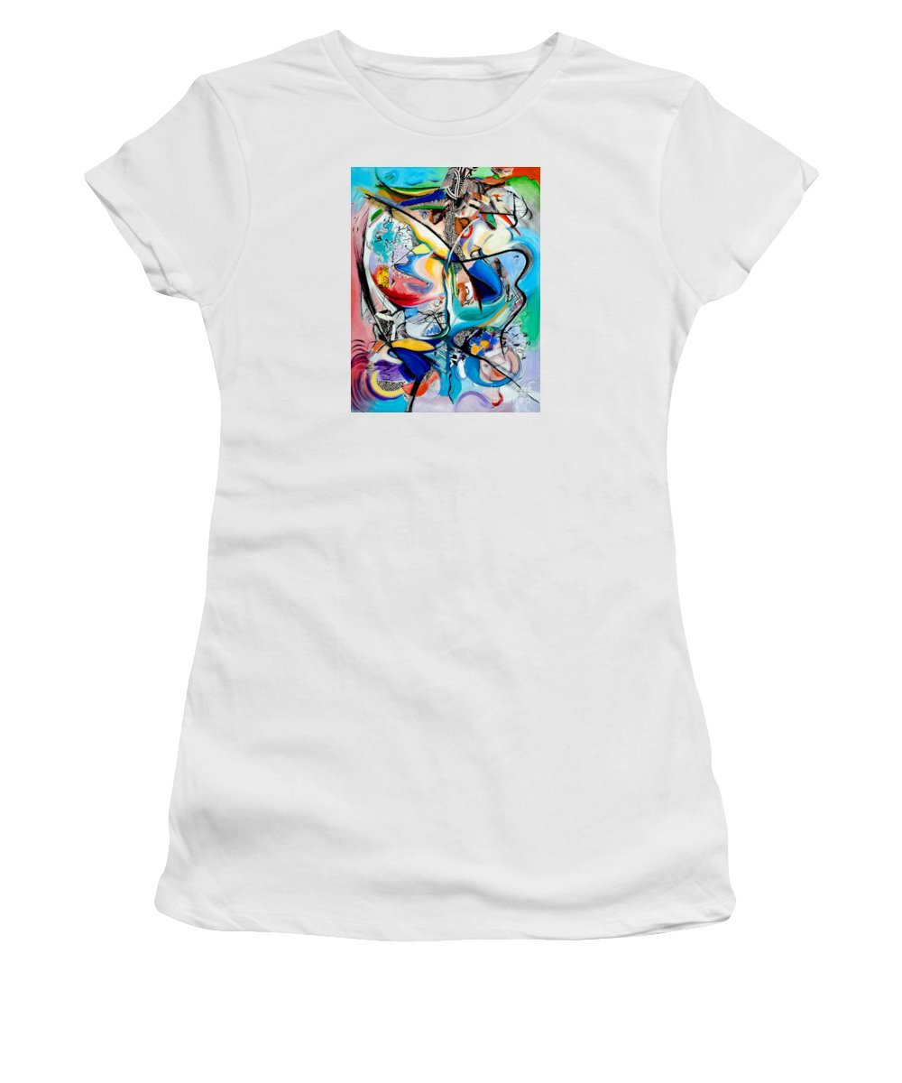 Abstract Women's T-Shirt featuring the painting Intimate Glimpses - Journey of Life by Kerryn Madsen-Pietsch