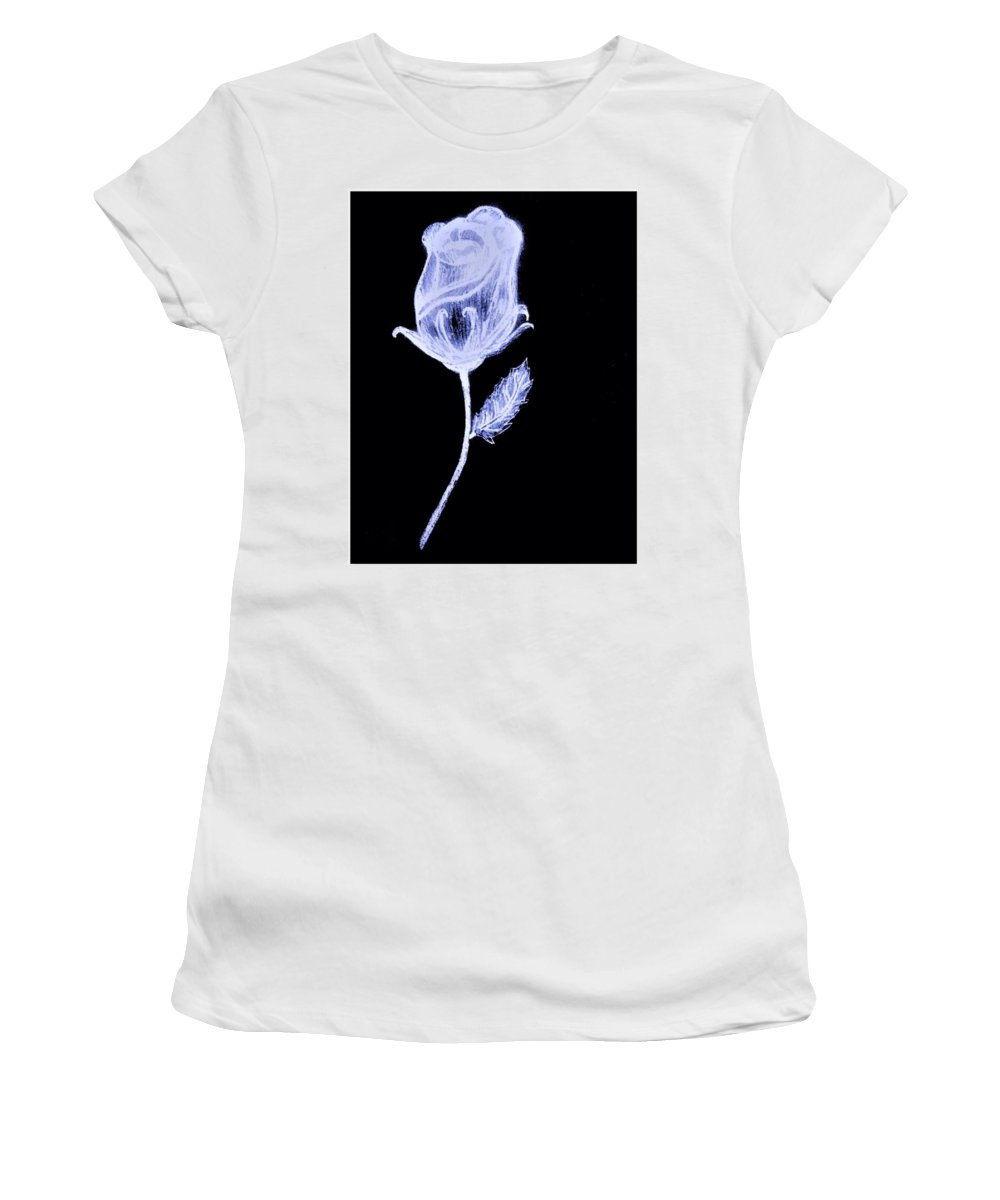 Pencil Women's T-Shirt (Athletic Fit) featuring the drawing Inverted Sketch Of A Rose by Debra Lynch