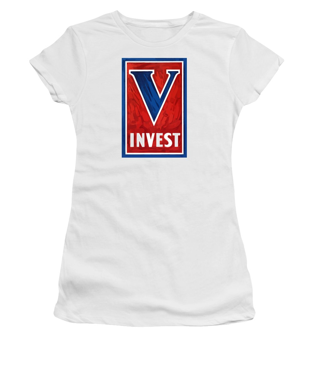 Victory Women's T-Shirt (Athletic Fit) featuring the painting Invest In Victory - World War 2 by War Is Hell Store