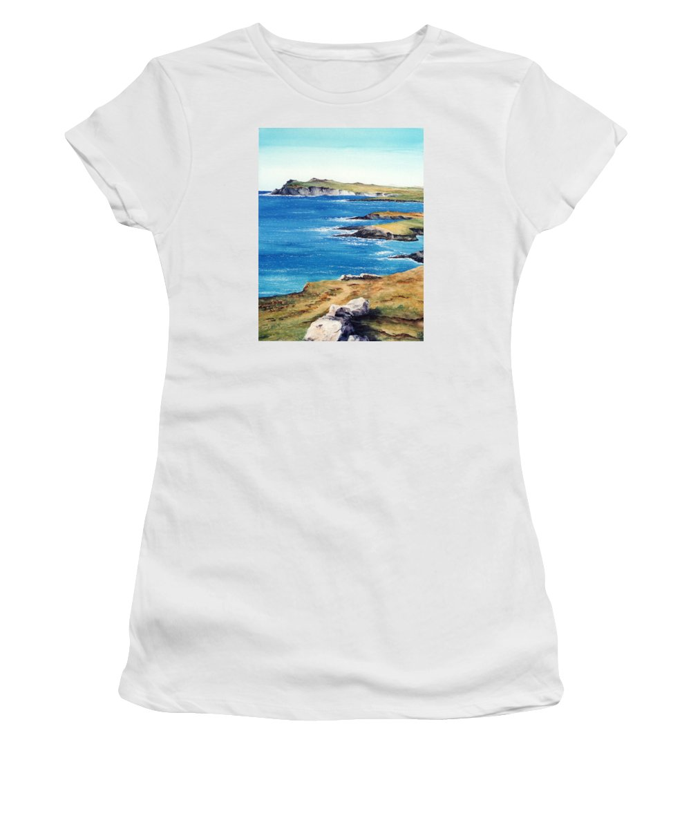 Landscape Women's T-Shirt (Athletic Fit) featuring the painting Ireland Sea by Lorena Garnerone