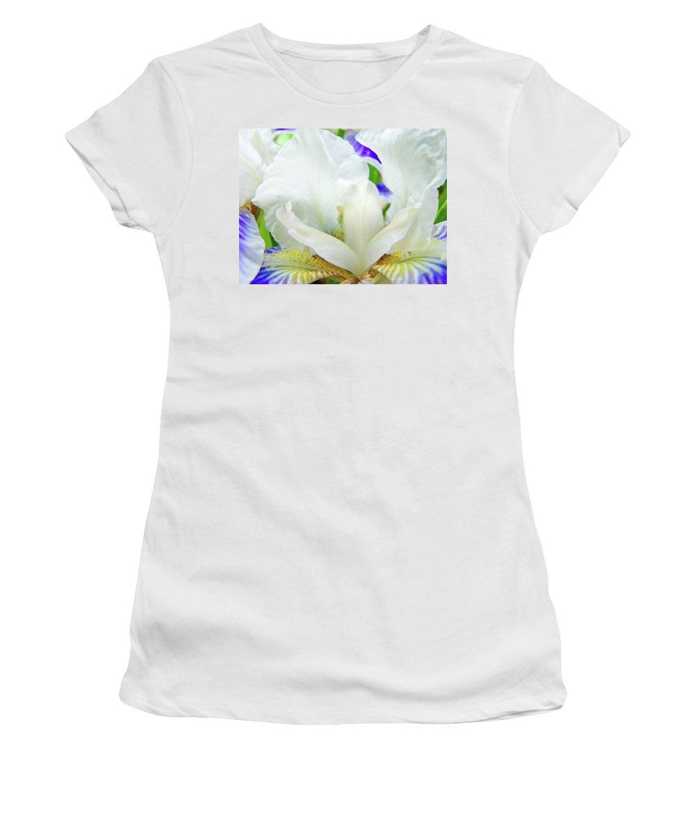 Iris Women's T-Shirt (Athletic Fit) featuring the photograph Iris Flower Art Print White Blue Purple Irises Baslee Troutman by Baslee Troutman