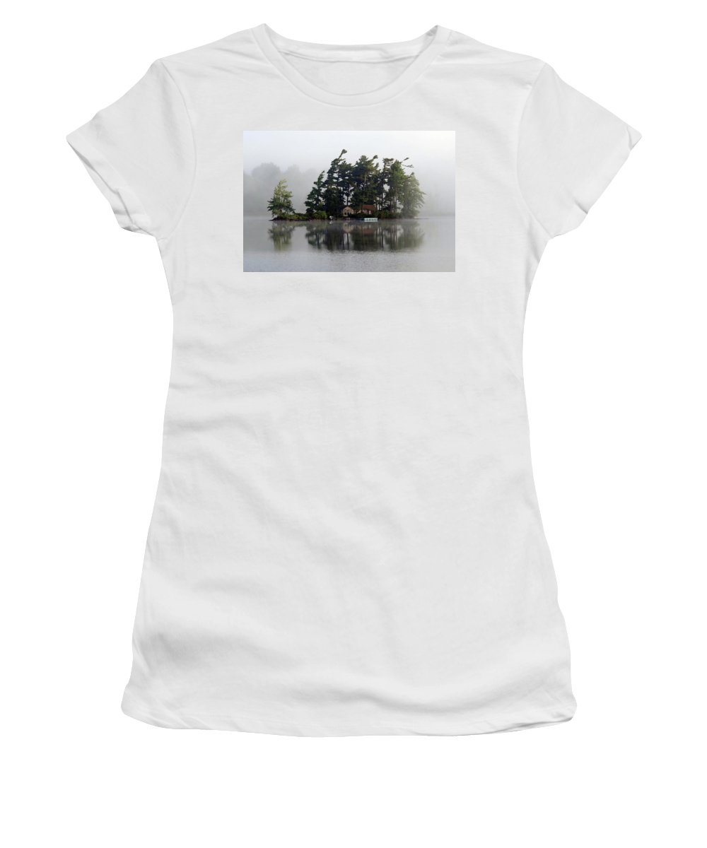 Landscape Women's T-Shirt (Athletic Fit) featuring the photograph Island Retreat by Alan Olmstead