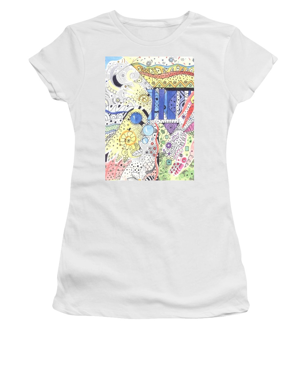 Atoms Women's T-Shirt (Athletic Fit) featuring the mixed media It Circulates by Helena Tiainen