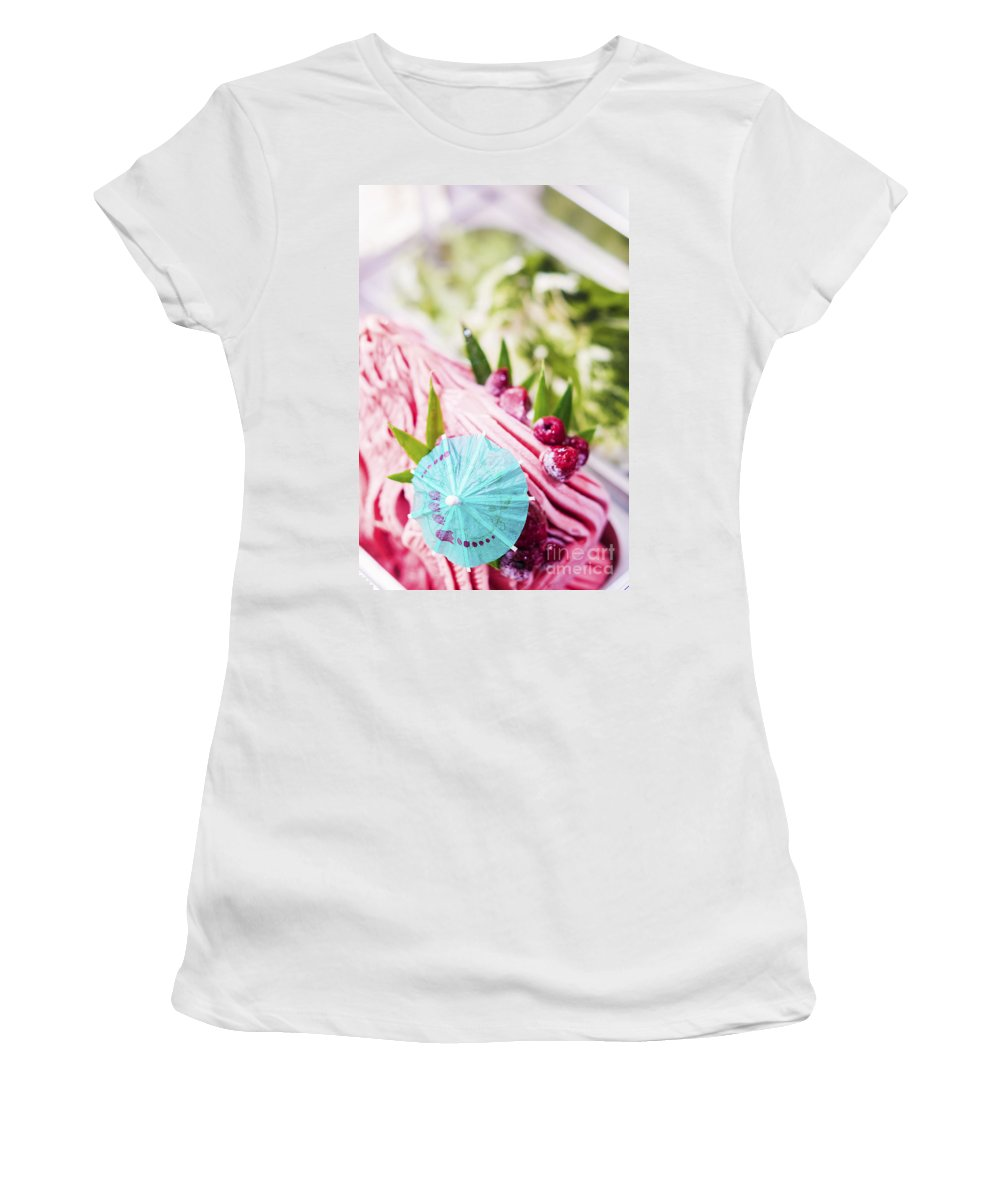 Blue Women's T-Shirt featuring the photograph Italian Gelato Raspberry Ice Cream With Blue Umbrella by Jacek Malipan