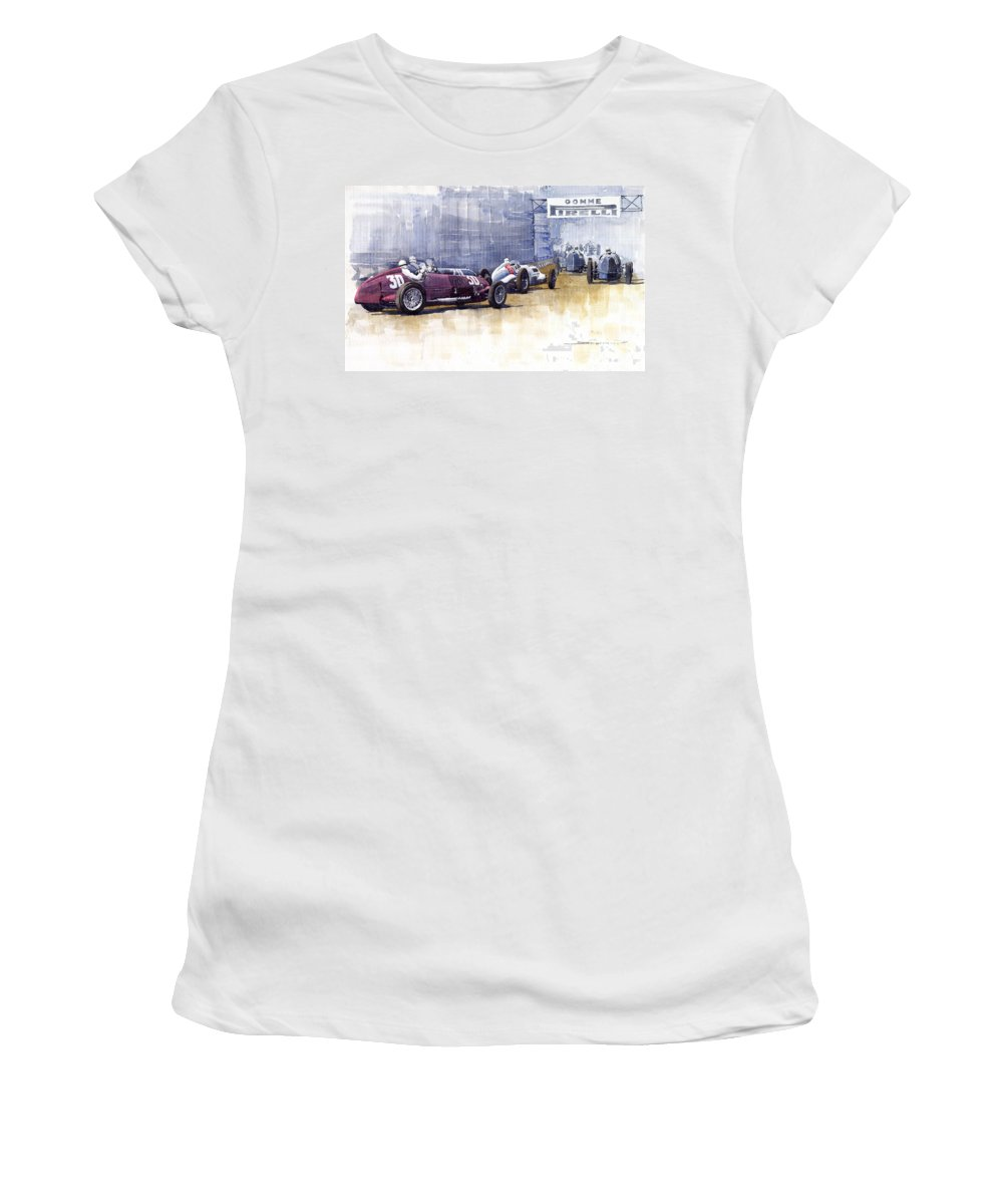 Watercolour Women's T-Shirt (Athletic Fit) featuring the painting Italian Gp1937 Livorno by Yuriy Shevchuk