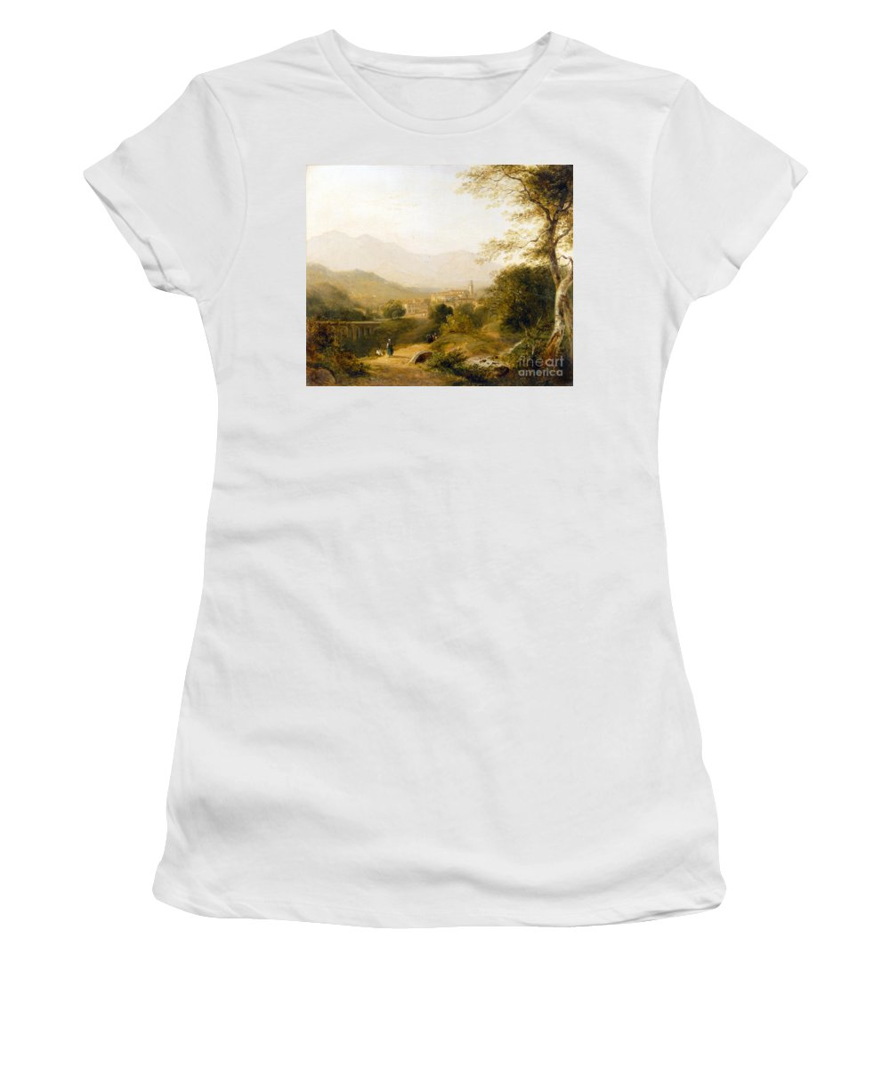 Italian; Landscape; Rural; Countryside; Village; Town; Bridge; Architecture; Stream; Figures; Picturesque; Tree; Trees Women's T-Shirt (Athletic Fit) featuring the painting Italian Landscape by Joseph William Allen