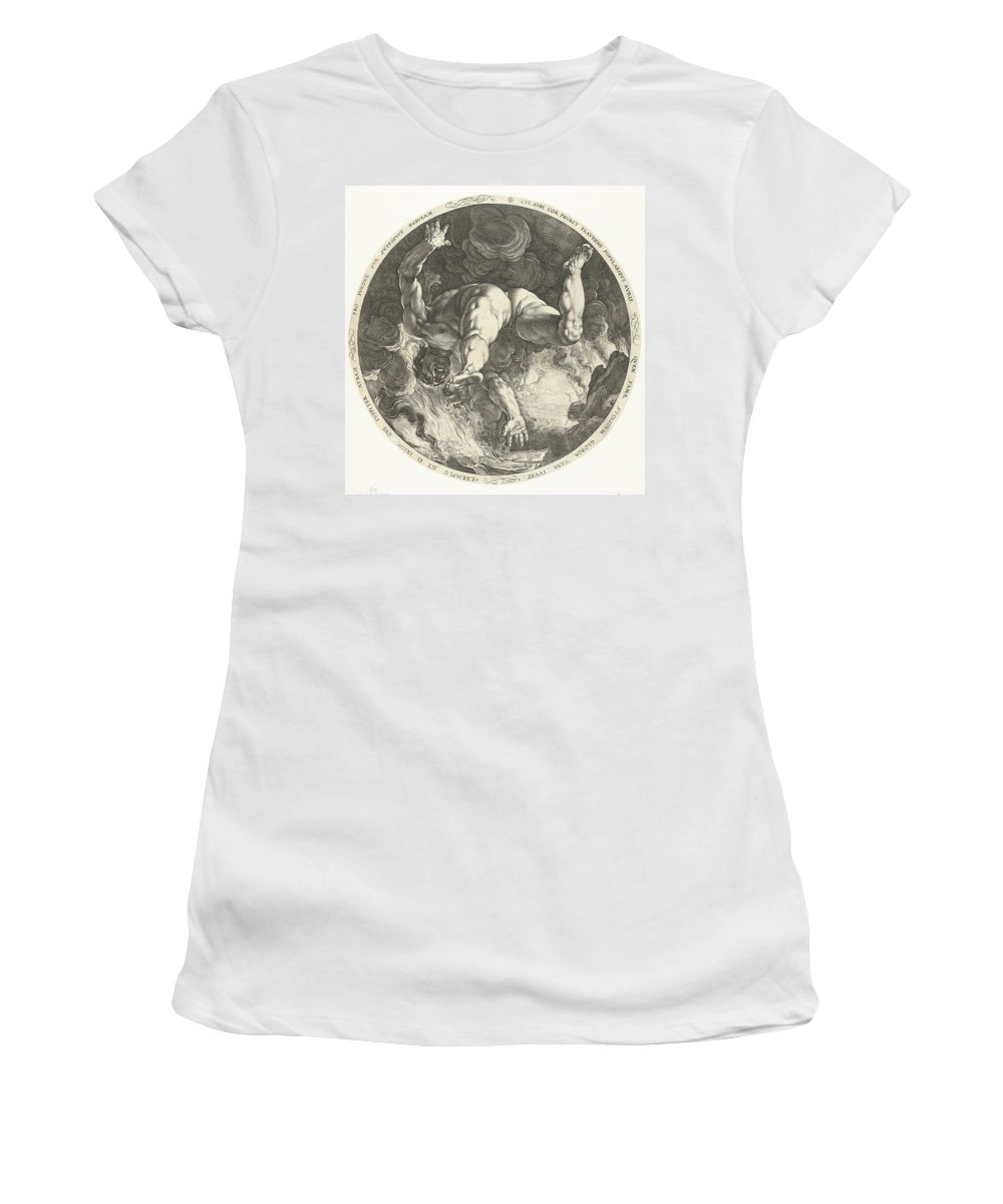 In Greek Mythology Women's T-Shirt (Athletic Fit) featuring the drawing Ixion by R Muirhead Art