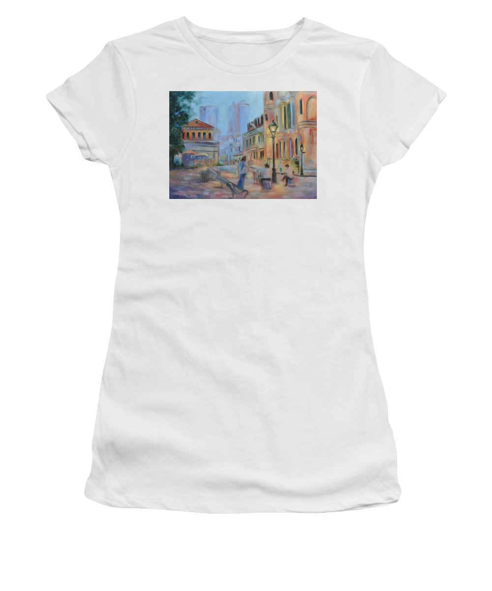 New Orleans Women's T-Shirt (Athletic Fit) featuring the painting Jackson Square Musicians by Ginger Concepcion