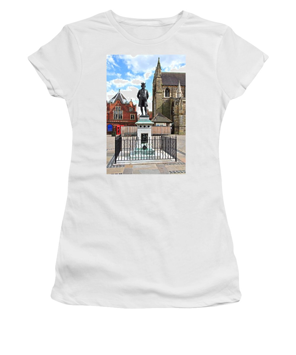 Red Women's T-Shirt featuring the photograph James Boswell Statue - Lichfield by Rod Johnson