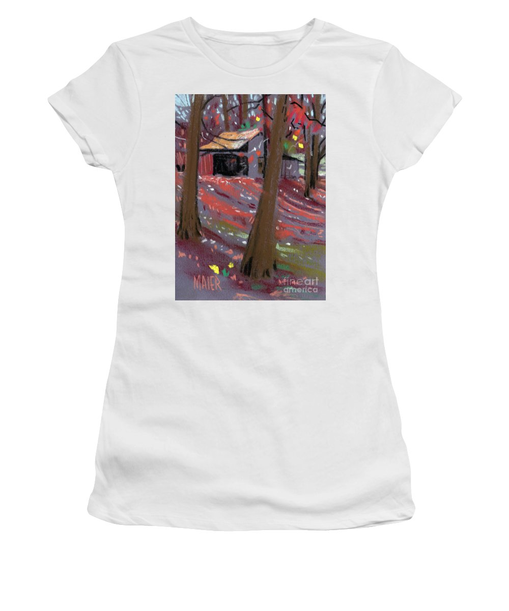 Barns Women's T-Shirt (Athletic Fit) featuring the drawing James's Barns 3 by Donald Maier