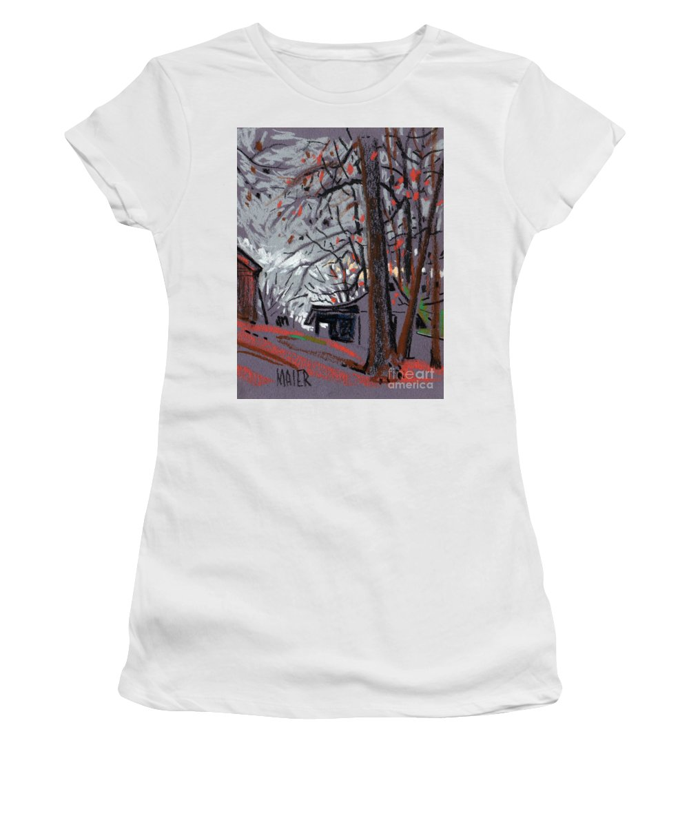 Barns Women's T-Shirt (Athletic Fit) featuring the drawing James's Barns 7 by Donald Maier