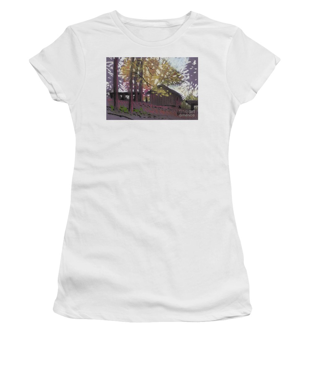 Pastel Women's T-Shirt (Athletic Fit) featuring the drawing James's Barns 9 by Donald Maier