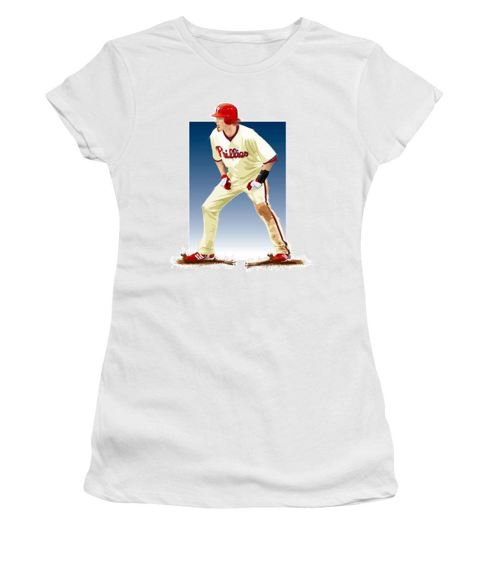 Jayson Werth Women's T-Shirt (Athletic Fit) featuring the digital art Jayson Werth by Scott Weigner