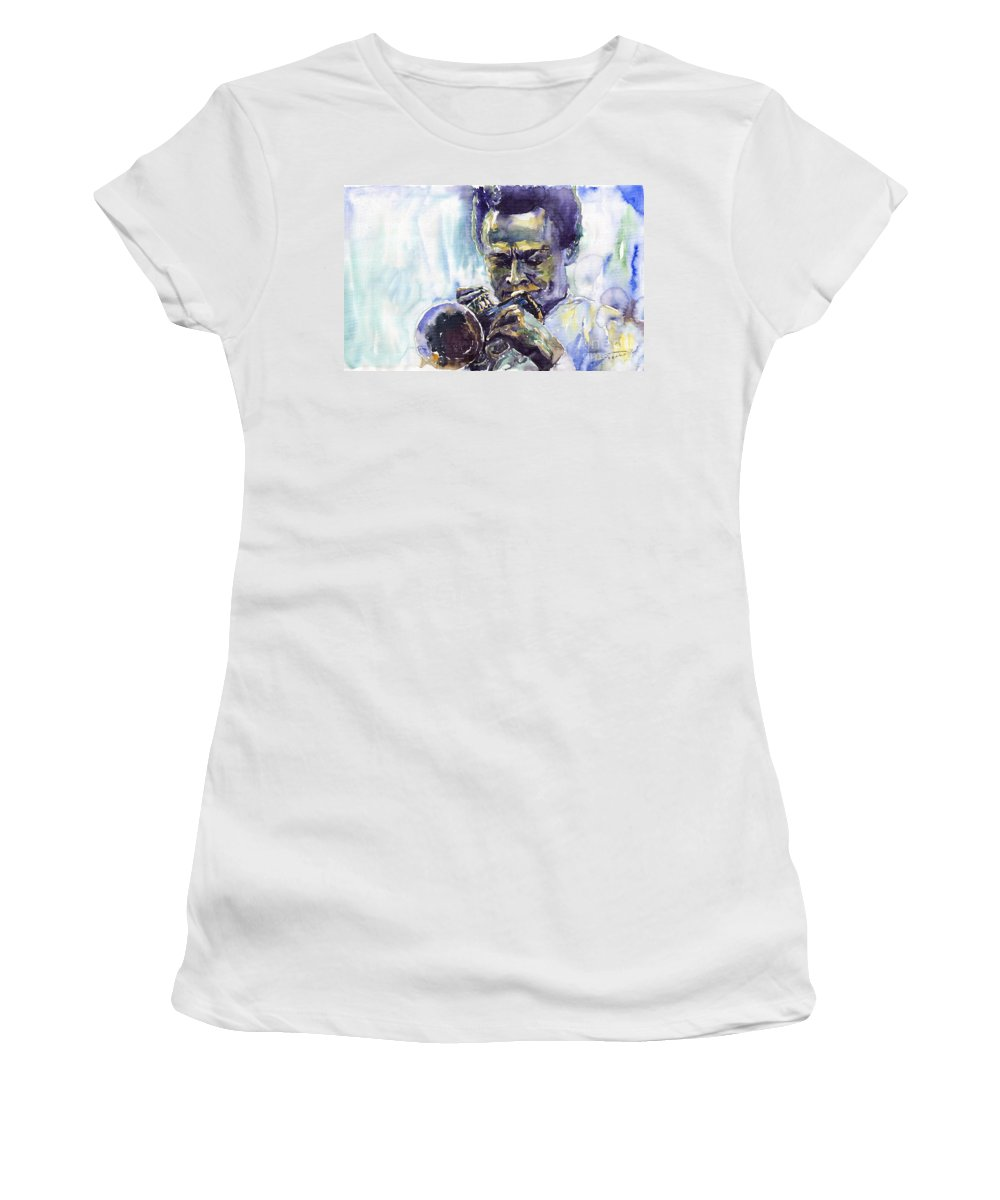 Jazz Miles Davis Music Musiciant Trumpeter Portret Women's T-Shirt (Athletic Fit) featuring the painting Jazz Miles Davis 10 by Yuriy Shevchuk
