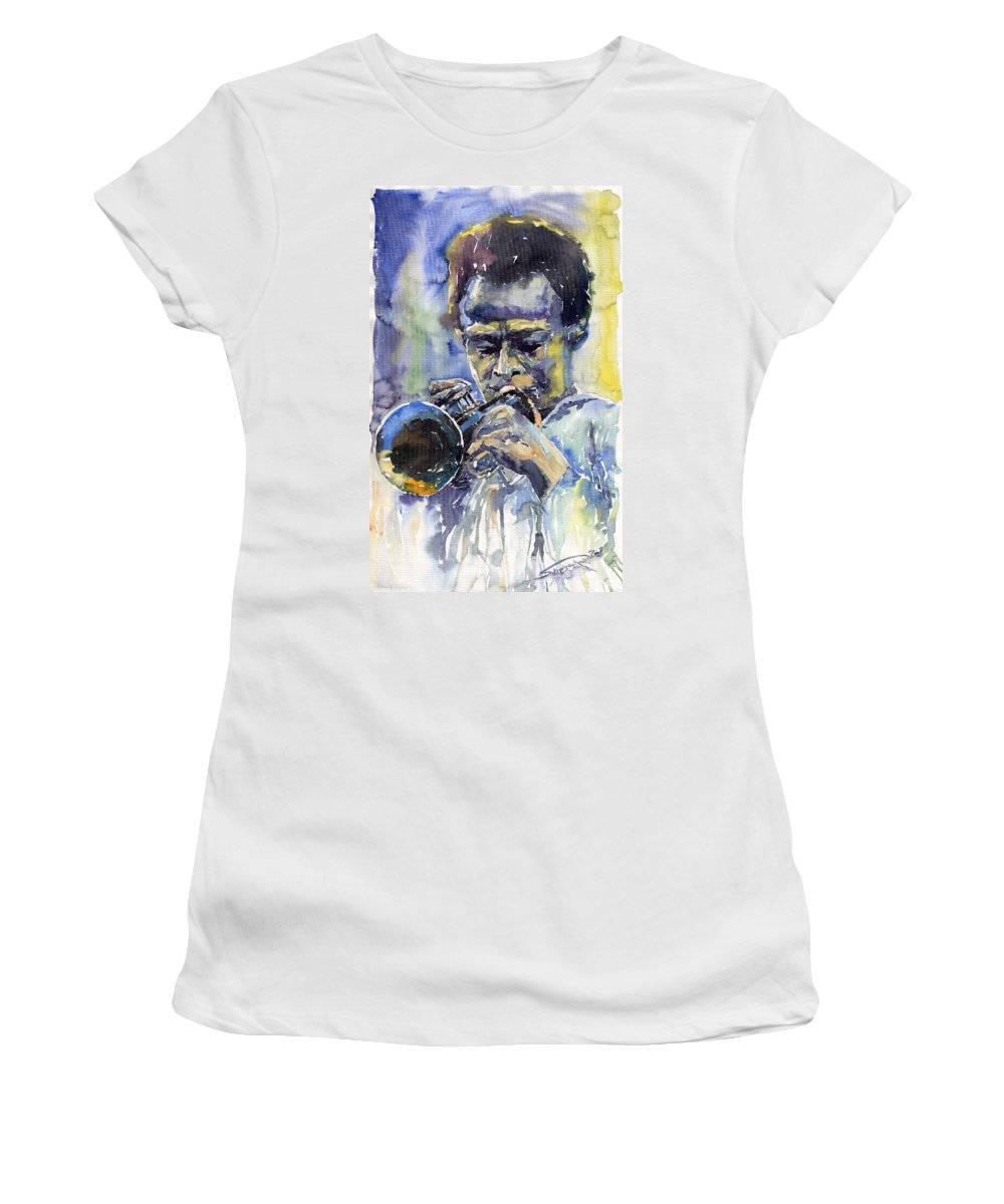 Jazz Women's T-Shirt (Athletic Fit) featuring the painting Jazz Miles Davis 12 by Yuriy Shevchuk