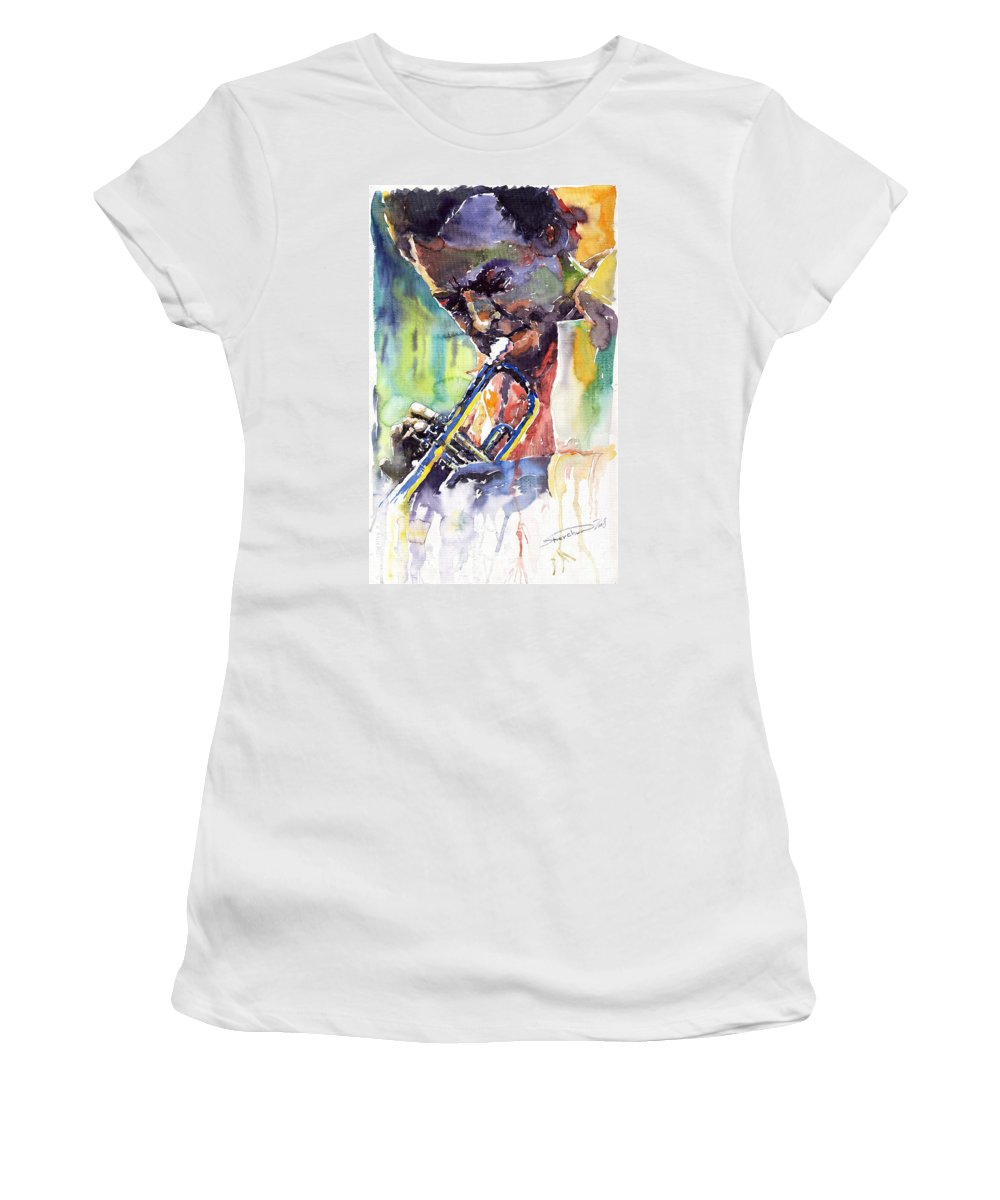 Jazz Miles Davis Music Musiciant Trumpeter Portret Women's T-Shirt (Athletic Fit) featuring the painting Jazz Miles Davis 9 Blue by Yuriy Shevchuk