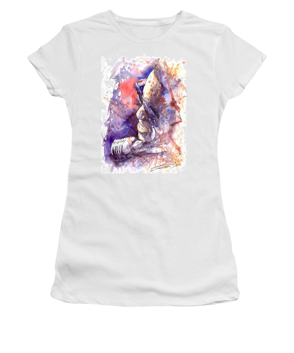 Portret Women's T-Shirt (Athletic Fit) featuring the painting Jazz Ray Charles by Yuriy Shevchuk