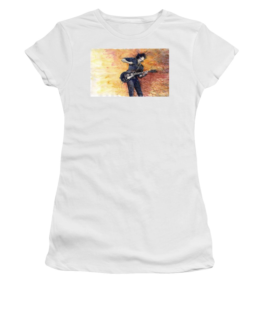 Figurativ Women's T-Shirt featuring the painting Jazz Rock Guitarist Stone Temple Pilots by Yuriy Shevchuk