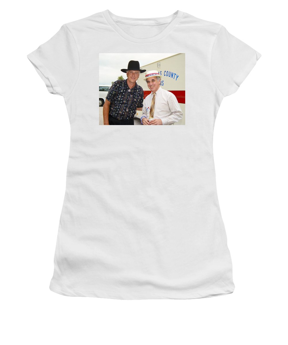 Americana Women's T-Shirt (Athletic Fit) featuring the photograph Jerry Jeff Walker And S. David Freeman by Marilyn Hunt