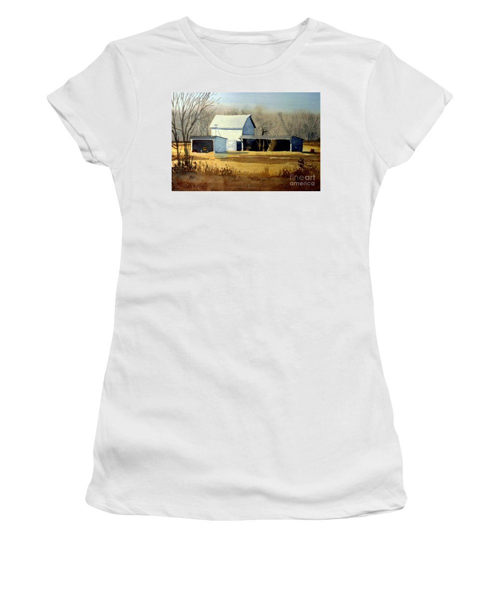Watercolor Women's T-Shirt (Athletic Fit) featuring the painting Jersey Farm by Donald Maier