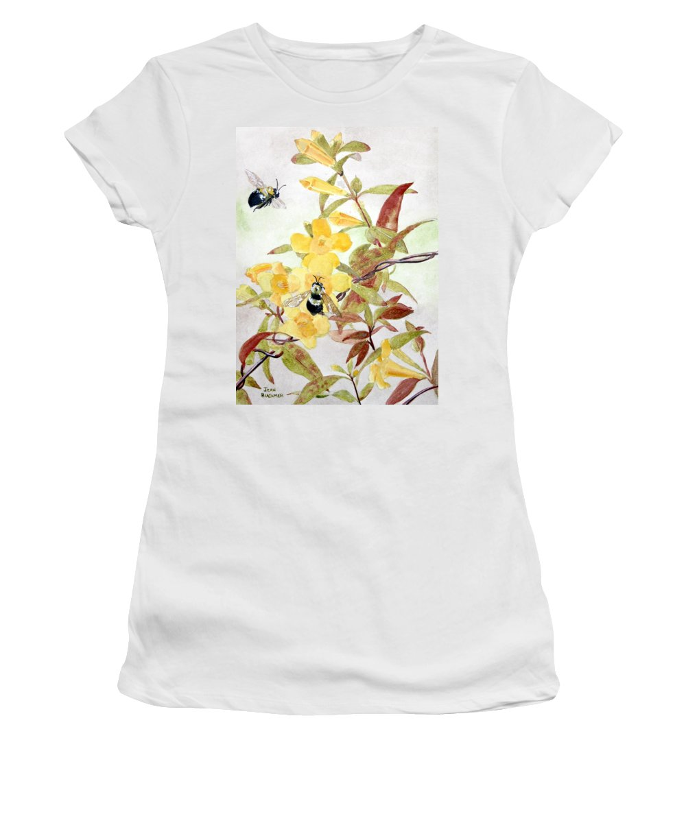 Jasmine Women's T-Shirt (Athletic Fit) featuring the painting Jessamine Bee Mine by Jean Blackmer