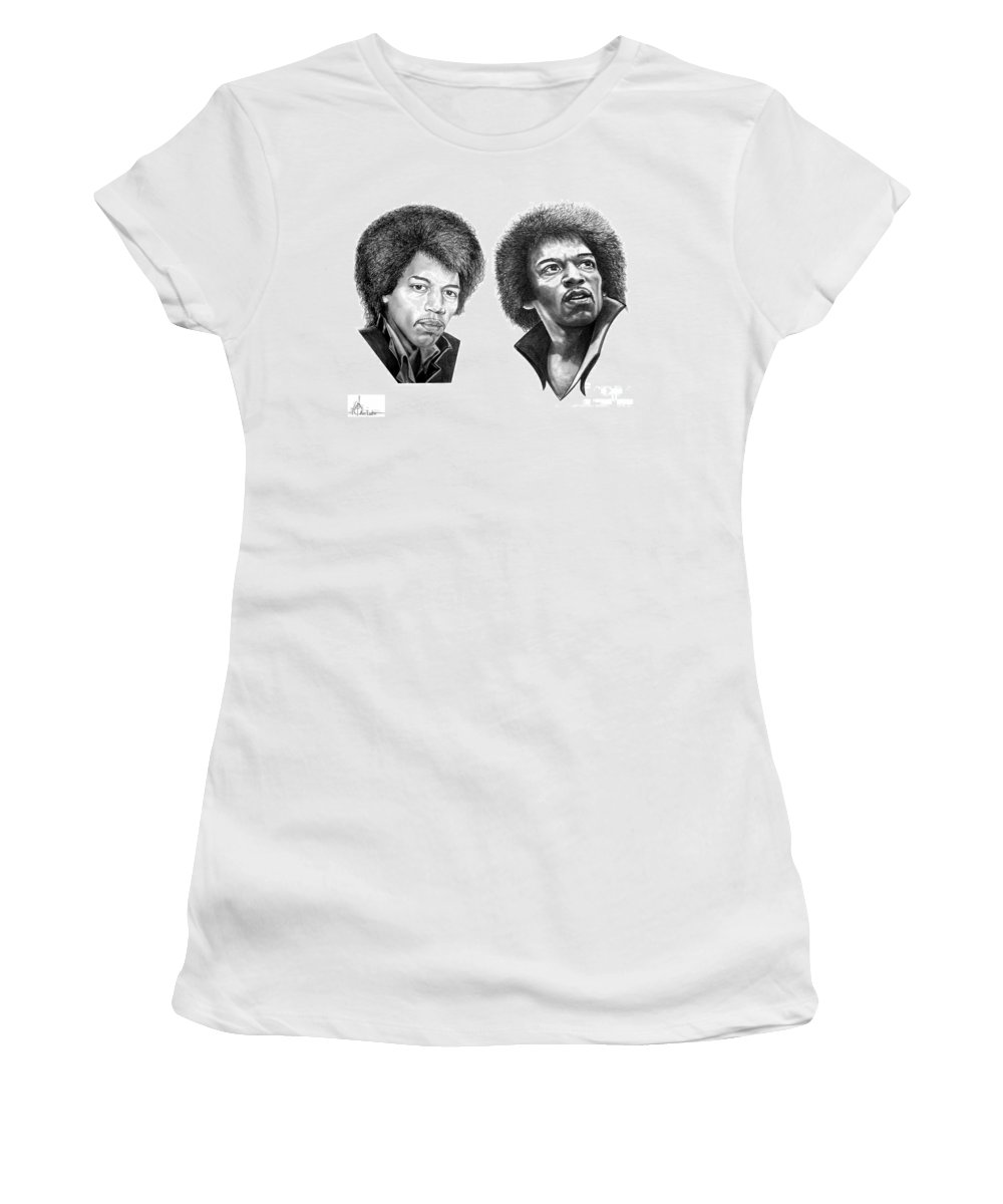 Drawing Women's T-Shirt (Athletic Fit) featuring the drawing Jimi Hendrix by Murphy Elliott