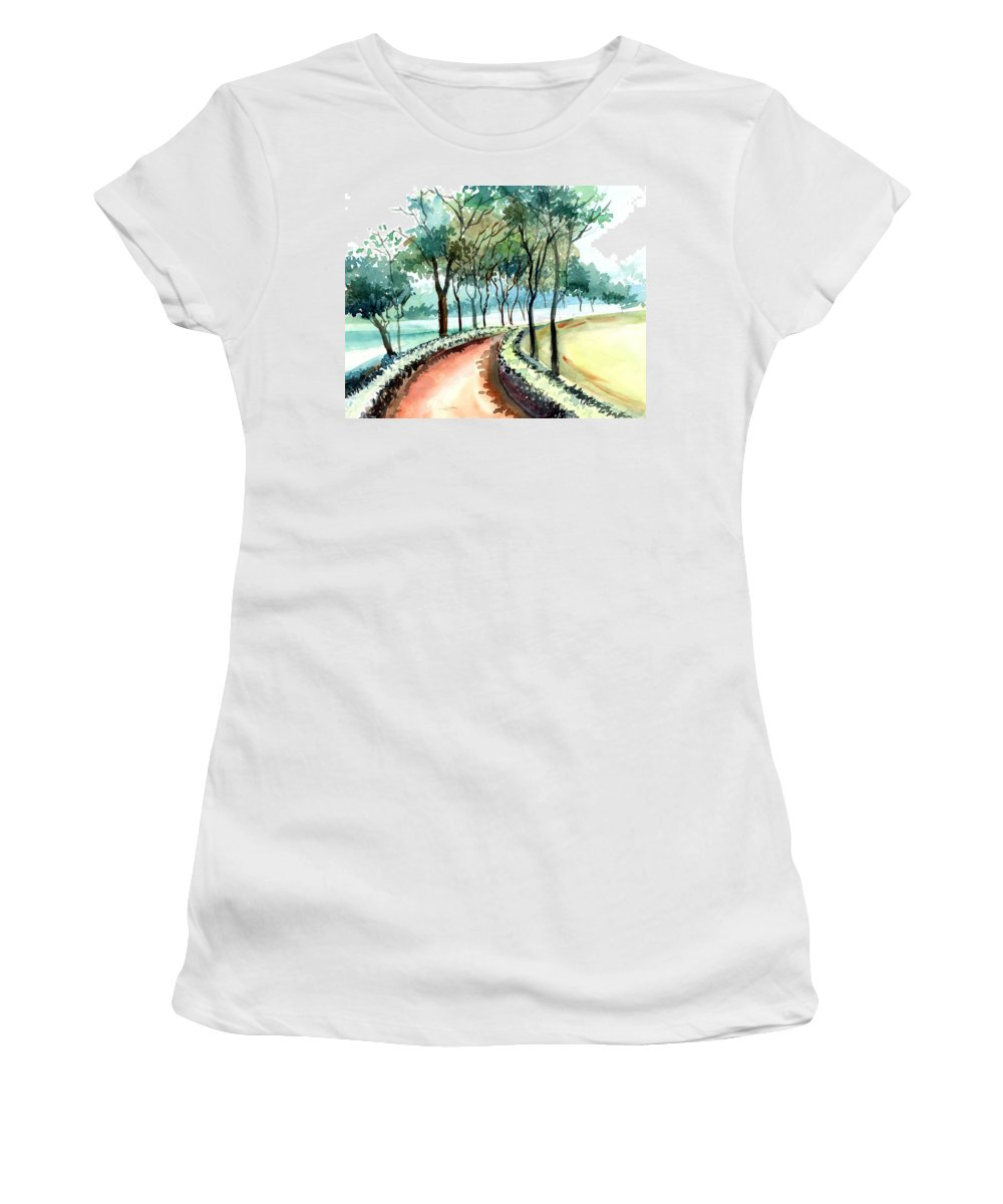 Landscape Women's T-Shirt (Athletic Fit) featuring the painting Jogging Track by Anil Nene