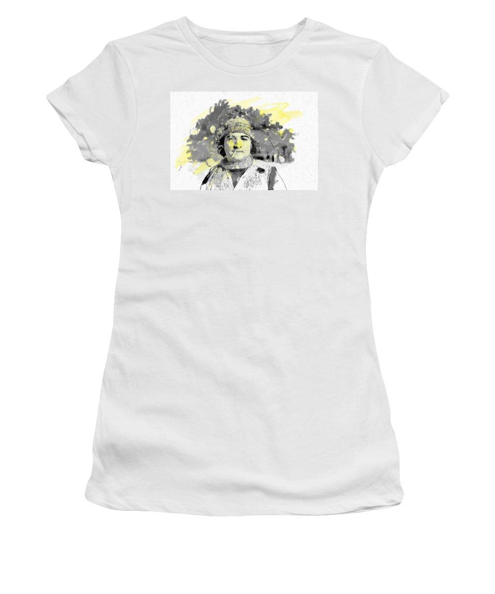 John Belushi Women's T-Shirt (Athletic Fit) featuring the painting John Belushi Killer Bee by John Farr
