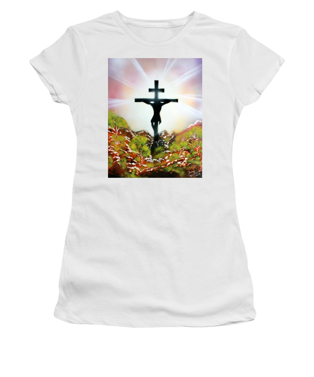 Christ Women's T-Shirt featuring the painting John Three Sixteen by Greg Moores