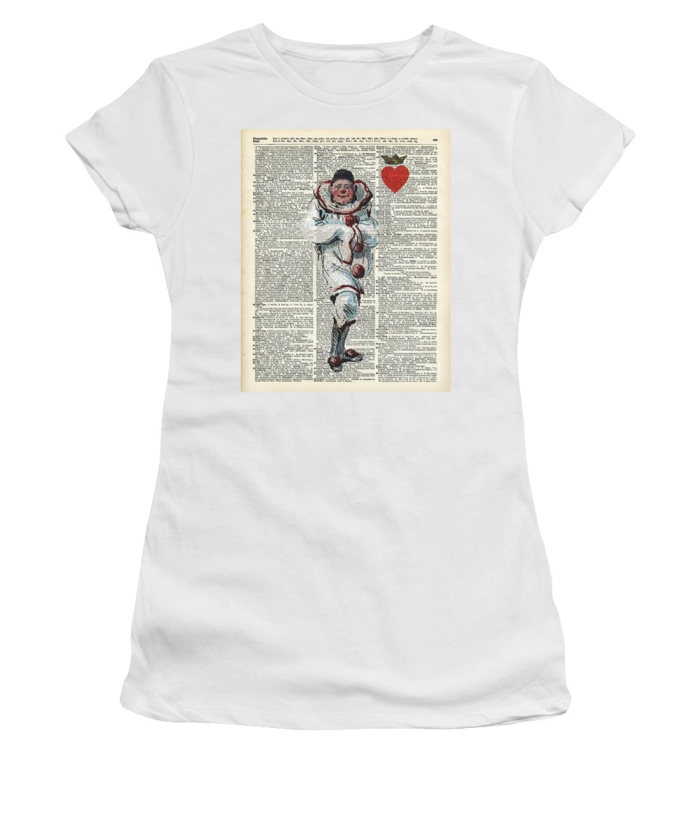 Watercolor Women's T-Shirt featuring the painting Joker From Playing Cards by Anna W
