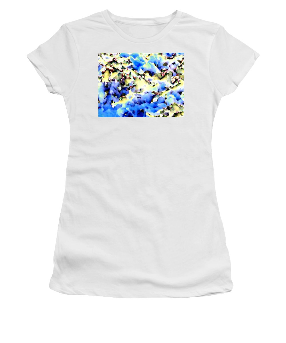 Abstract Women's T-Shirt (Athletic Fit) featuring the digital art Jolly Winter Blues by Will Borden