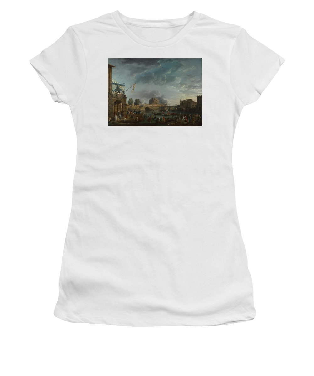 Claude Women's T-Shirt (Athletic Fit) featuring the digital art Joseph Vernet  A Sporting Contest On The Tiber At Rome by PixBreak Art