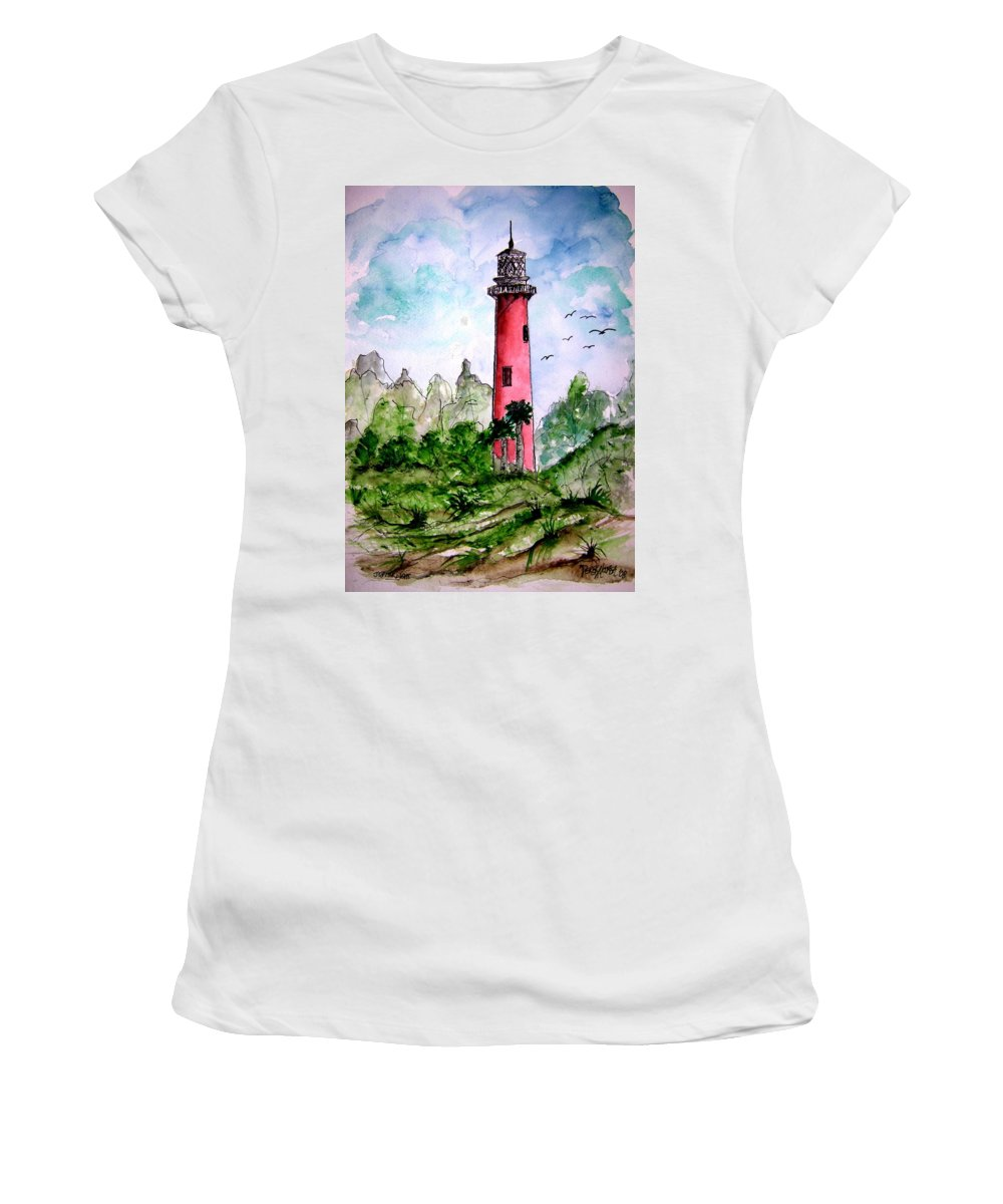Lighthouse Women's T-Shirt (Athletic Fit) featuring the painting Jupiter Florida Lighthouse by Derek Mccrea
