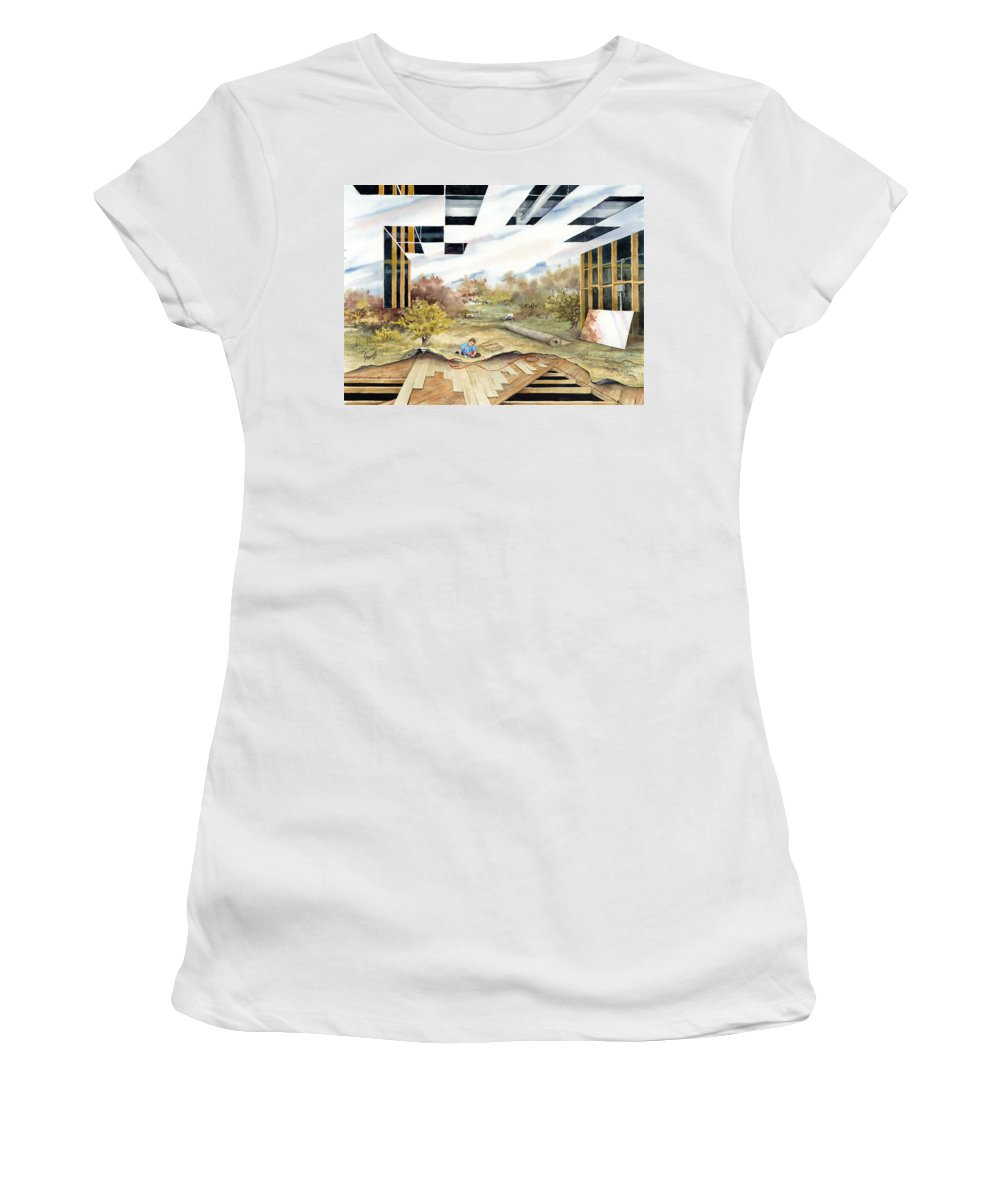 Landscape Women's T-Shirt (Athletic Fit) featuring the painting Just Another Unfinished Landscape Painting by Sam Sidders