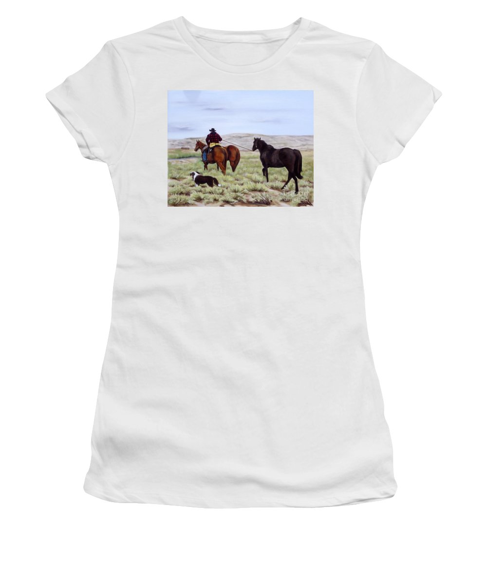 Art Women's T-Shirt featuring the painting Just Might Rain by Mary Rogers