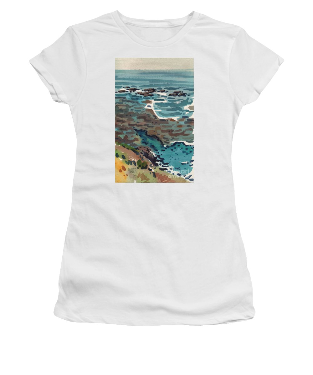 Watercolor Women's T-Shirt (Athletic Fit) featuring the painting Just North Of Santa Cruz by Donald Maier