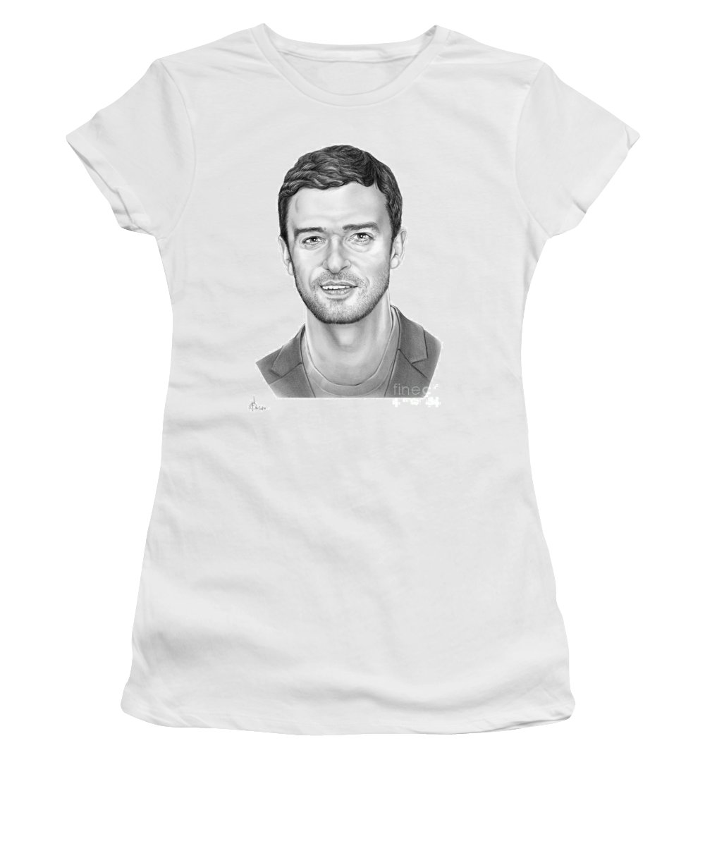Pencil Women's T-Shirt featuring the drawing Justin Timberlake by Murphy Elliott