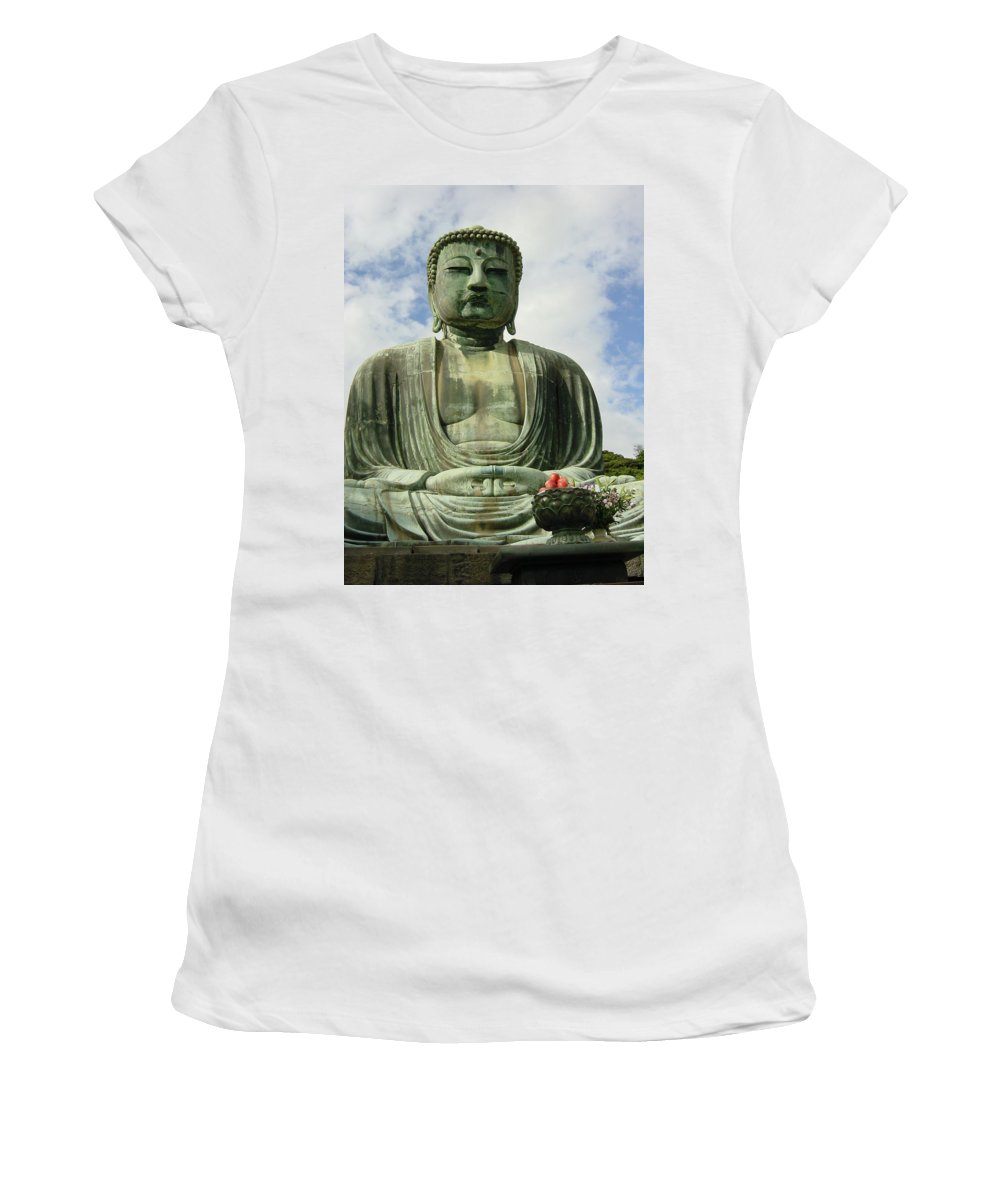 Buddha Women's T-Shirt (Athletic Fit) featuring the photograph Kamakura Daibutsu by D Turner
