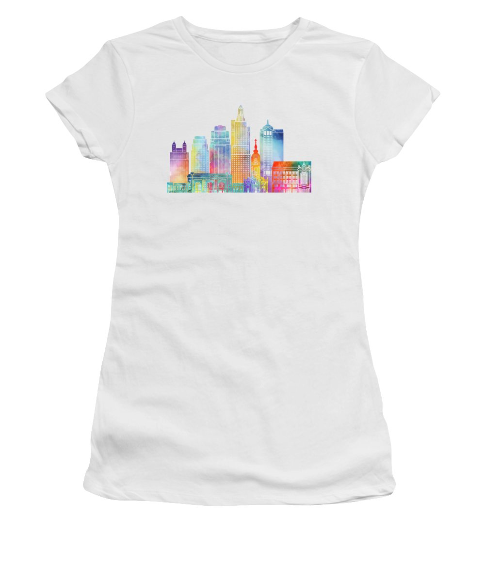 America Women's T-Shirt (Athletic Fit) featuring the painting Kansas City Landmarks Watercolor Poster by Pablo Romero