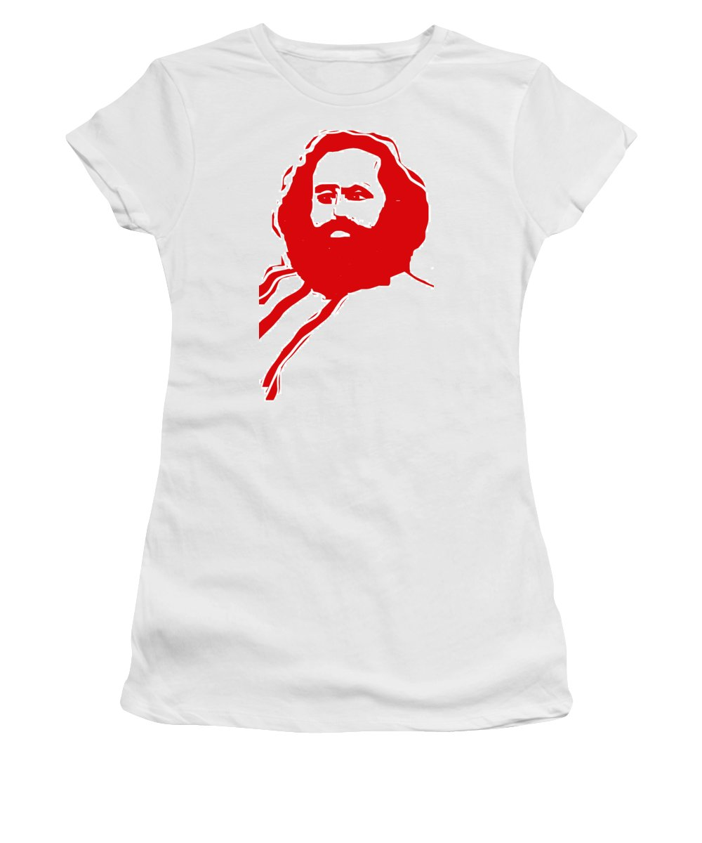 Karl Marx Women's T-Shirt (Athletic Fit) featuring the digital art Karl Marx by Rob Prince