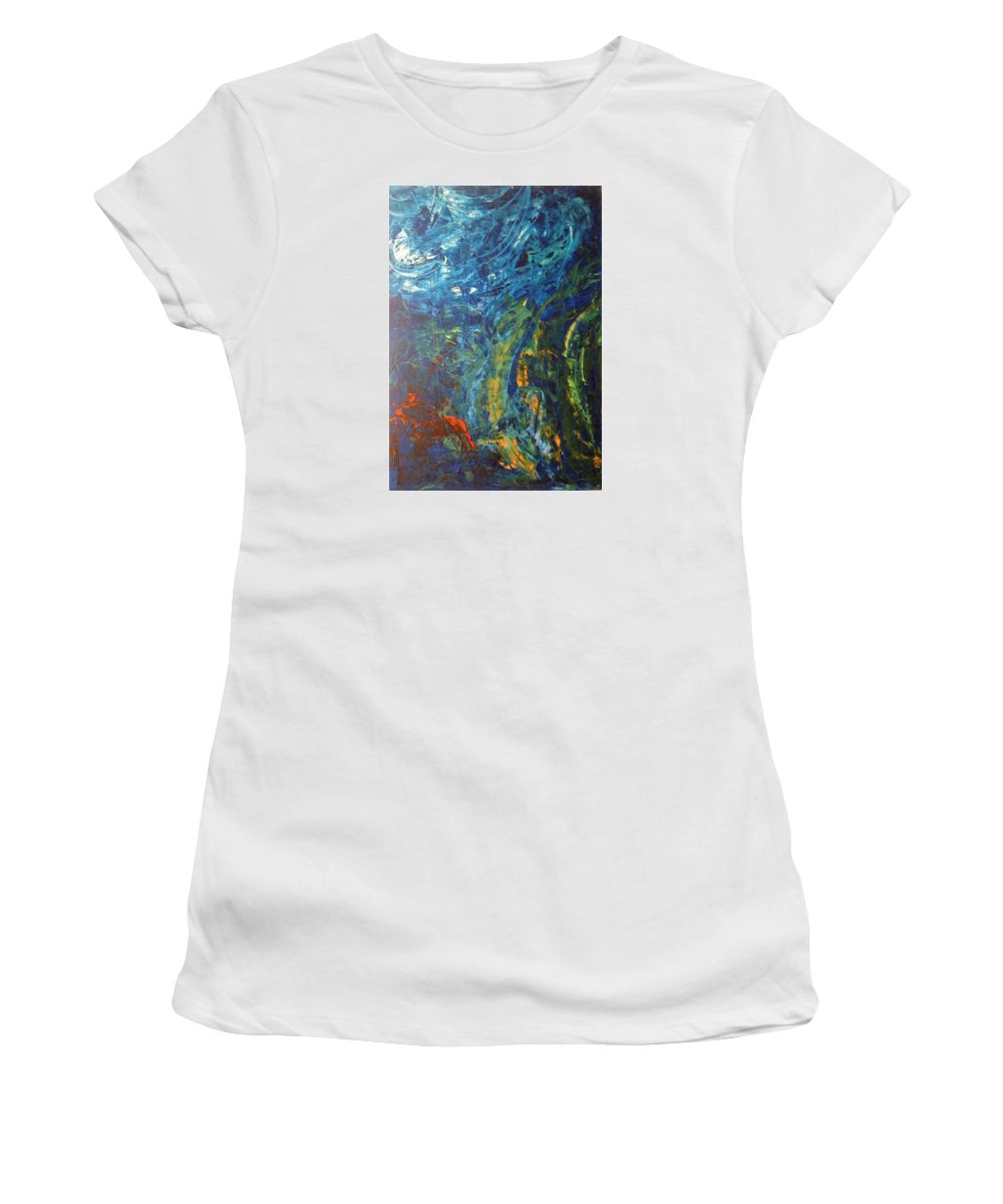 Abstract Art Women's T-Shirt (Athletic Fit) featuring the painting Kepler 452b by John Dossman