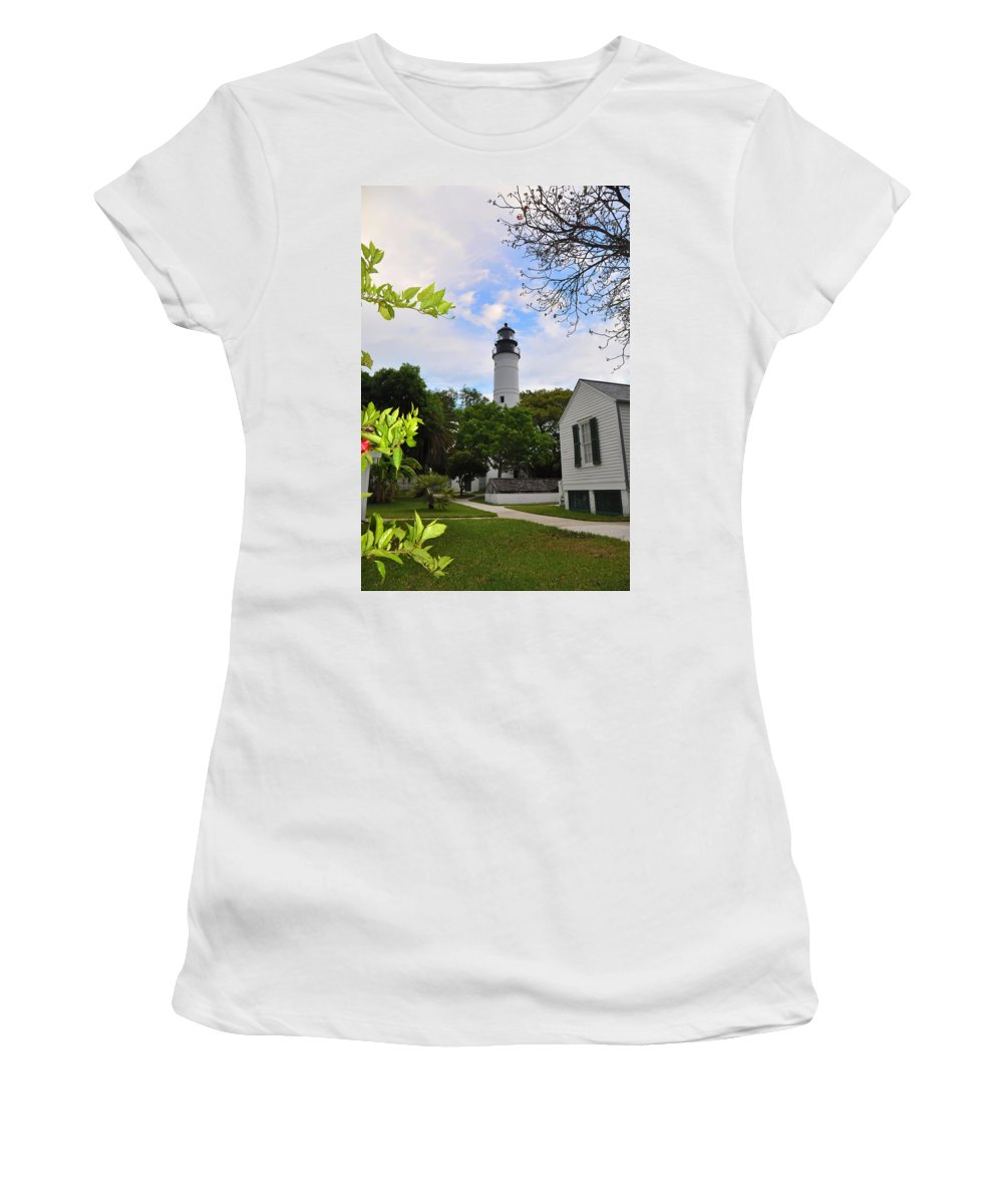 Key West Women's T-Shirt (Athletic Fit) featuring the photograph Key West Lighthouse by Bill Cannon