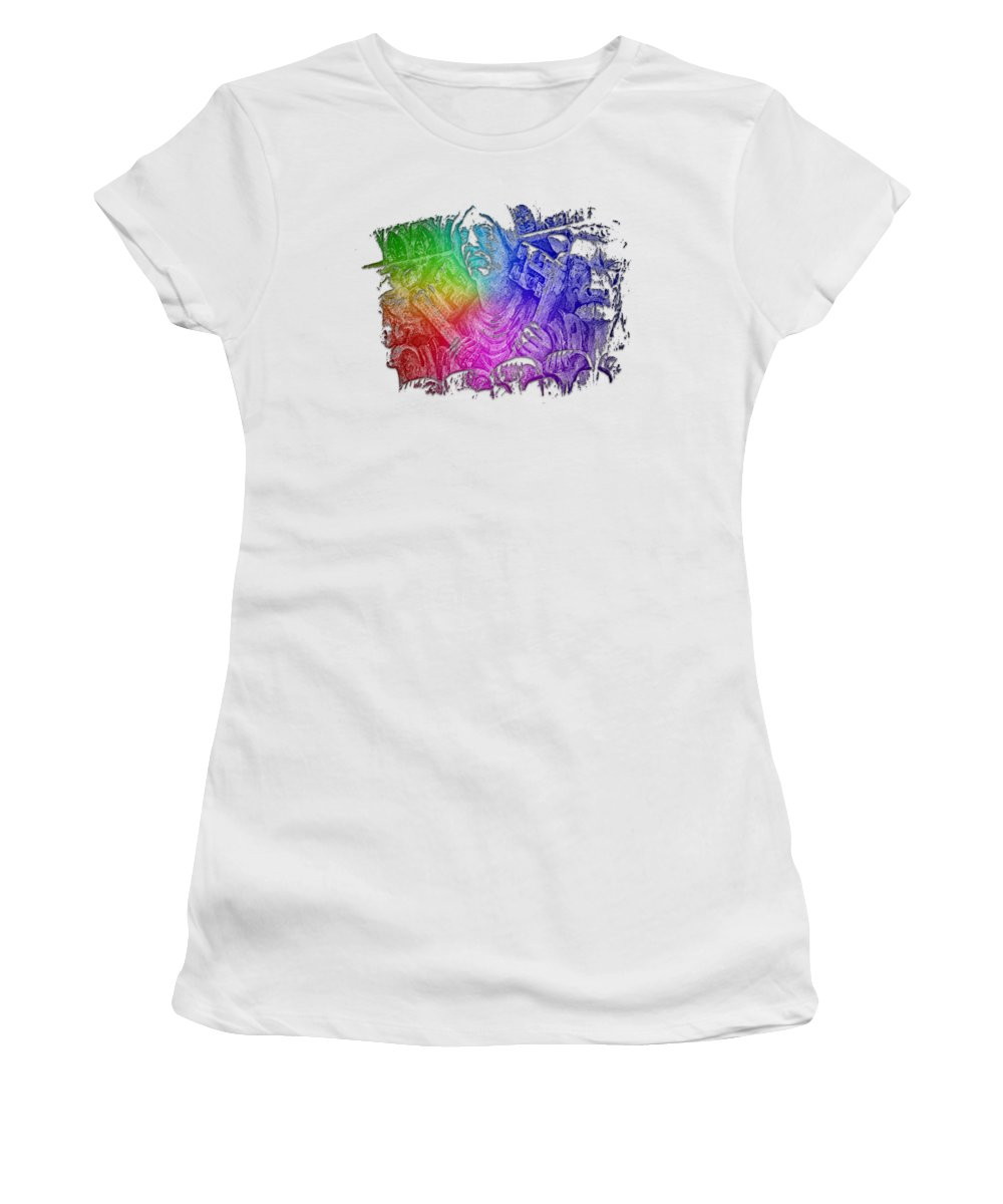 Keys Women's T-Shirt (Athletic Fit) featuring the photograph Keys To The City Cool Rainbow 3 Dimensional by Di Designs
