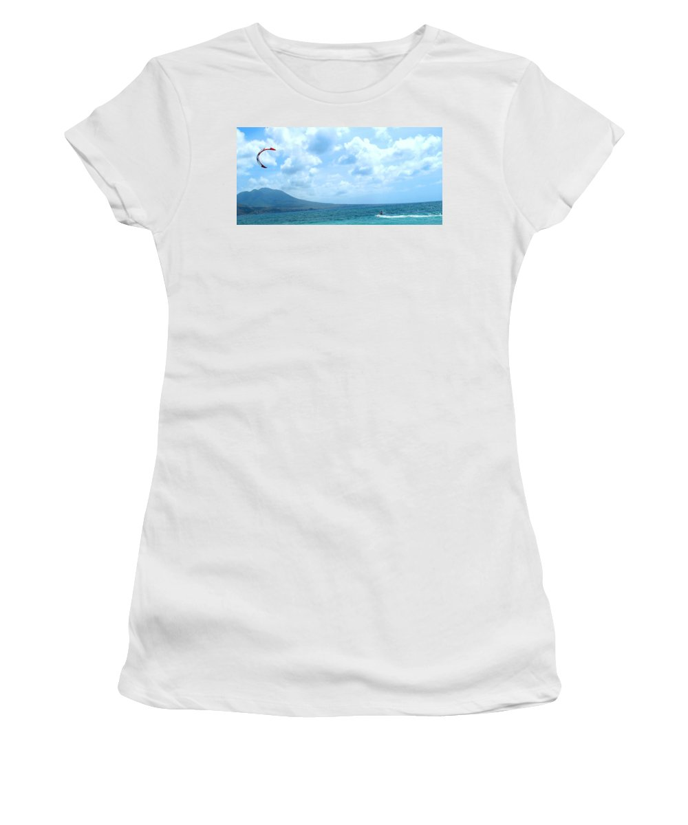 Kite Women's T-Shirt (Athletic Fit) featuring the photograph Kite Surfing With A Nevis Background by Ian MacDonald