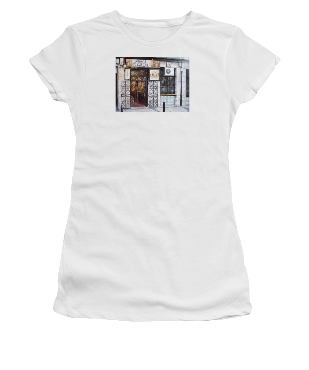 Bodega Women's T-Shirt featuring the painting La Cigalena Old Restaurant by Tomas Castano