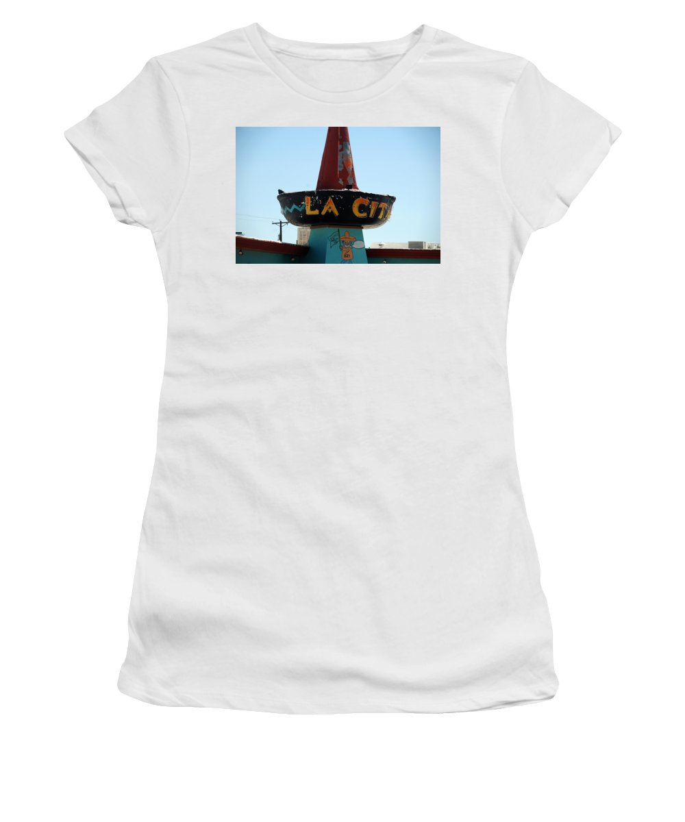 Route 66 Women's T-Shirt (Athletic Fit) featuring the photograph La Cita In Tucumcari On Route 66 Nm by Susanne Van Hulst