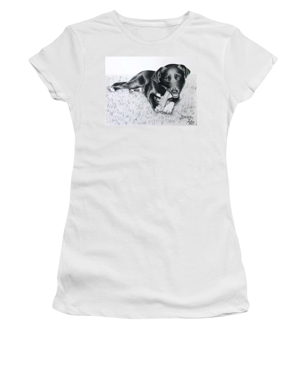 Dog Women's T-Shirt (Athletic Fit) featuring the drawing Labrador Samy by Nicole Zeug